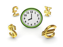 Currencies around watch. Stock Image