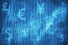 Currencies Collage Abstract Background. In Blue Colors Stock Photos