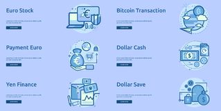 Currencies Conceptual Banner Design. Set of great banner flat design illustration concepts for currency, business, finance and much more Royalty Free Stock Photo