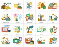 Currencies Conceptual Design. Set of great flat design illustration concepts for currency, business, finance and much more Stock Photo