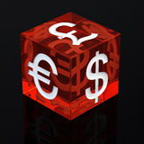 Currencies dice. Red gambling dice with currency symbols on black background , 3d illustration Royalty Free Stock Photos