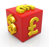 Currencies dice Royalty Free Stock Photography