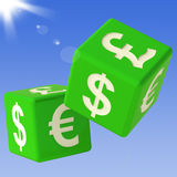 Currencies Dice Flying Showing Money Exchange Royalty Free Stock Photos