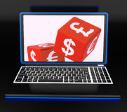Currencies Dices On Laptop Showing Global Finances Stock Photography