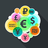 Currencies of different countries in the style of flat Royalty Free Stock Photography