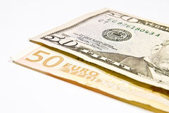 Currencies Euro and Dollar Stock Photos