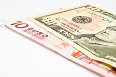 Currencies Euro and Dollar Stock Photography