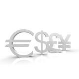 Currencies. Euro, dollar, pound and yen symbols Stock Image