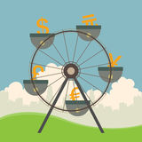 Currencies on Ferris Wheel. Vector illustration of monetary and currency concept with ferris wheel Royalty Free Stock Image