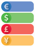 Currencies Flat Banners and Buttons. 4 Currencies flat banners. Euro, Dollar, Pound and Yen included, in 4 different colors. AI 10 vector illustration, CMYK Royalty Free Stock Photos