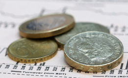 Currencies on graph Royalty Free Stock Photos