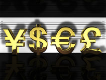 Currencies lineup Royalty Free Stock Photos