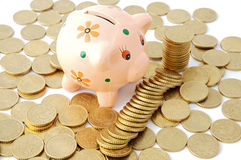 Currencies in a money box Royalty Free Stock Photos