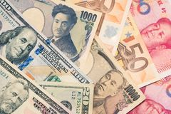 Currencies and money exchange and international trading concepts royalty free stock images