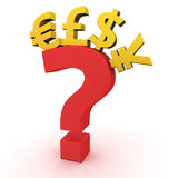 Currencies on question Stock Images
