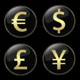 Currencies signs buttons. Four different currencies signs buttons Royalty Free Stock Photos