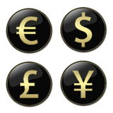 Currencies signs buttons. Four different currencies signs buttons Royalty Free Stock Images