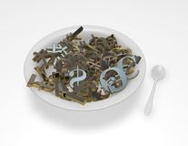 Currencies symbols in a bowl, money exchange, forex abstract concept Royalty Free Stock Images