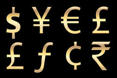Currencies symbols in gold. All currencies symbols in gold, for business concepts Stock Images