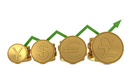 Currencies symbols in golden coins chart and green. Line isolated on white background Stock Photo