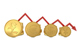 Currencies symbols in golden coins chart and red l. Ine isolated on white Stock Image