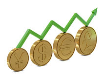 Currencies symbols in golden coins and green line Stock Image