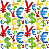 Currencies Symbols Seamless Pattern Stock Images