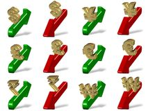 Currencies up and down. All major currency symbols sitting on a red and green arrows Stock Photo