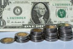 The Mexican peso and the US dollar. royalty free stock photography