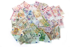 Currencies, worldwide money, banknotes Stock Photos