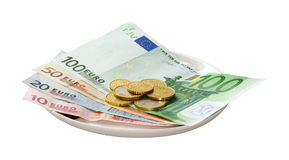 Currency. European currency on the plate Royalty Free Stock Images
