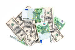 Currency. Heap of the dollars and euro currency isolated Royalty Free Stock Image