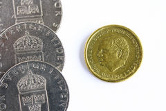 Currency. Swedish coins on white background Stock Photo