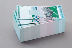 Currency. One stack of 50 ringgit malaysia currency royalty free stock photo