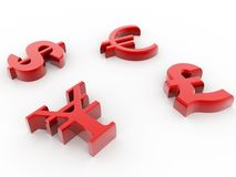 Currency 3d symbols Royalty Free Stock Image