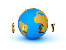 Currency Around The Planet Earth Royalty Free Stock Images