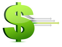 Currency and arrows business design stock illustration