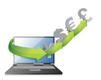Currency arrows concept on a laptop screen, Stock Image