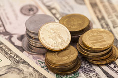 Currency  Bank Notes and Coins Royalty Free Stock Photo