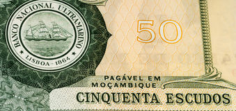 Currency banknote of Africa. 50 Mozambican escudos bank note. Mozambican escudo is former currency of Mozambique Royalty Free Stock Images