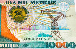 Currency banknote of Africa. 10000 Mozambican escudos bank note. Mozambican escudo is former currency of Mozambique Stock Images