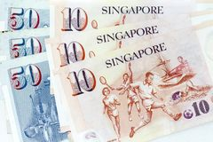 Currency banknotes spread across frame singapore dollar in various denomination. Notes Royalty Free Stock Photos