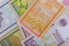 Currency banknotes Sri Lankan rupee in various denomination. On Sri Lanka money bill rupiah paper cash asia exchange economy business finance investment royalty free stock images