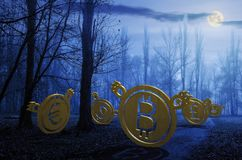 Currency bears in forest at night. 3d illustration royalty free stock photo