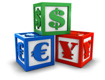 Currency blocks. Alphabet blocks with currency signs (3d illustration Stock Photo