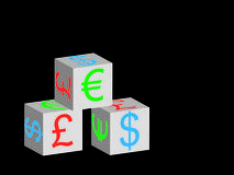 Currency boxes Stock Photos