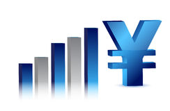 Currency business blue yen graph Royalty Free Stock Image