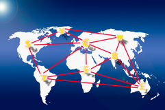 Currency on Business graph and social network. Currency on Business graph on world map and social network Stock Images