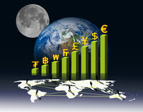 Currency on Business graph and social network Stock Photo