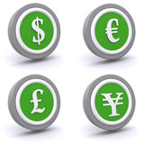 Currency button set Stock Images